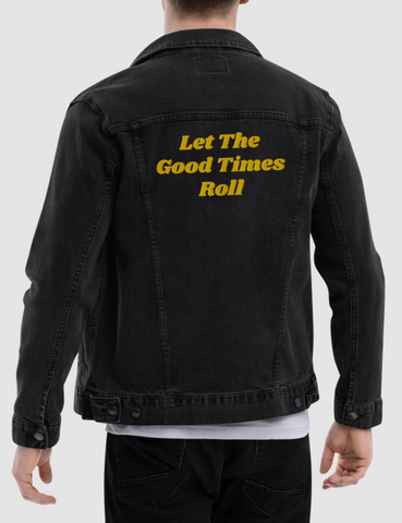Let The Good Times Roll Men's Black Denim Jacket - OniTakai