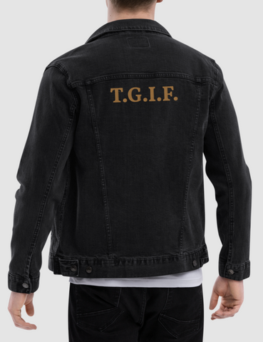 T.G.I.F. (Thank God It's Friday) Men's Black Denim Jacket - OniTakai