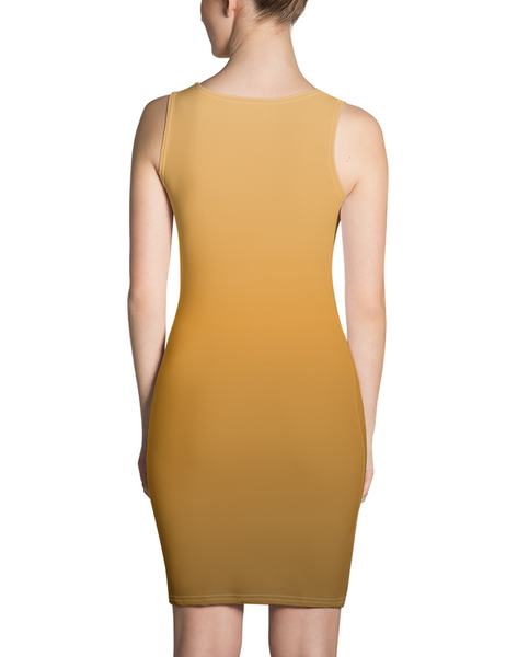 Orange Sunset Sleeveless Fitted Sublimated Dress