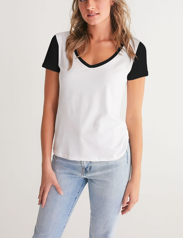 Paneled Varsity Ringer | Women's V-Neck T-Shirt