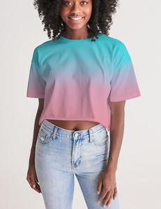 Pastel Ombre | Women's Oversized Crop Top T-Shirt