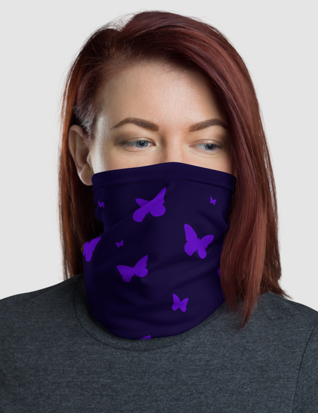 Purple Butterflies | Neck Gaiter Face Mask