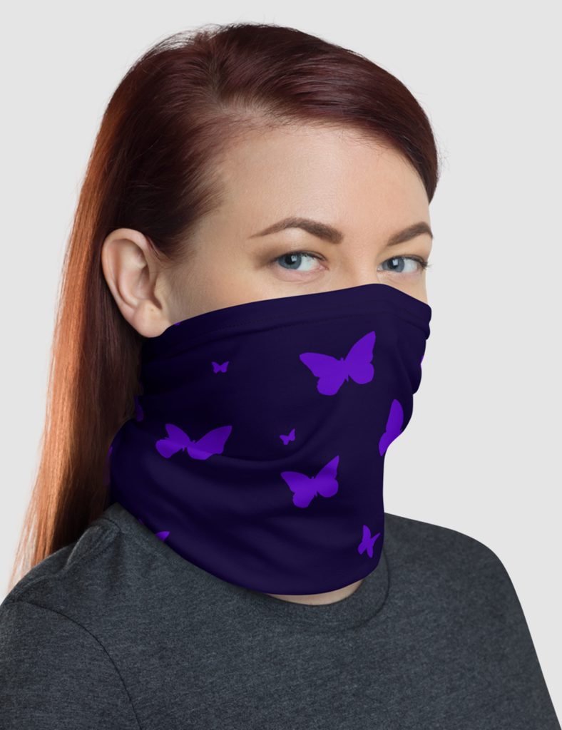 Butterfly Pink and Purple Neck Gaiter