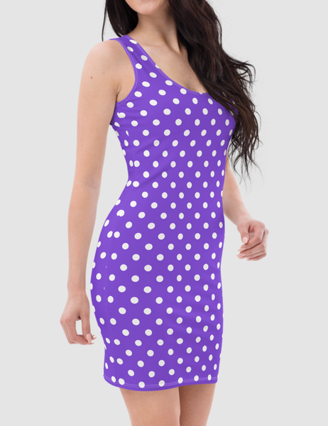 Purple Polka Dot | Women's Sleeveless Fitted Sublimated Dress