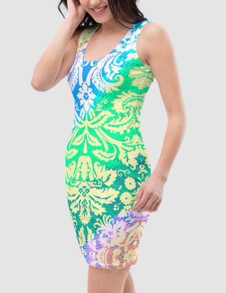 Radically Groovy Floral Print | Women's Sleeveless Fitted Sublimated Dress