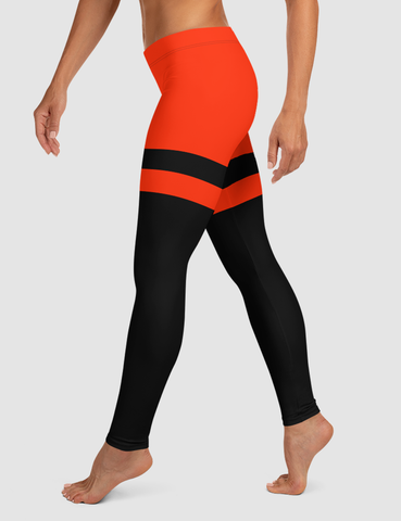 Red And Black Thigh-Striped Single Line | Women's Standard Yoga Leggings