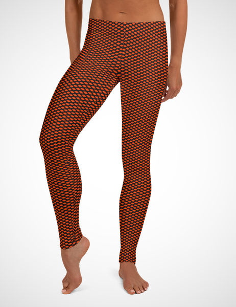 Red Diamond Grid Low Waist Yoga Leggings