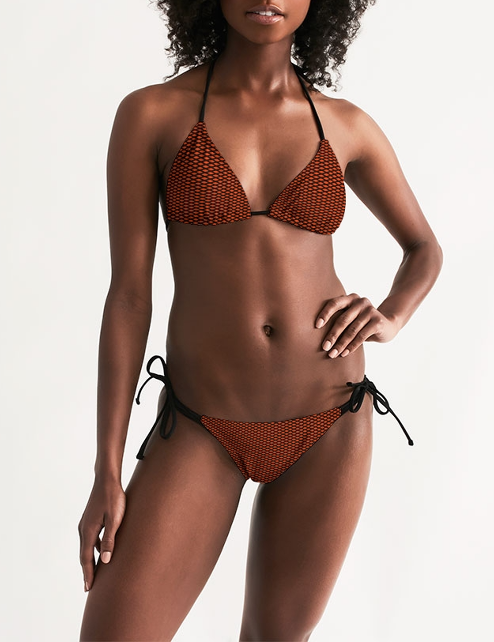 Red Diamond Grid | Women's Triangle String Bikini