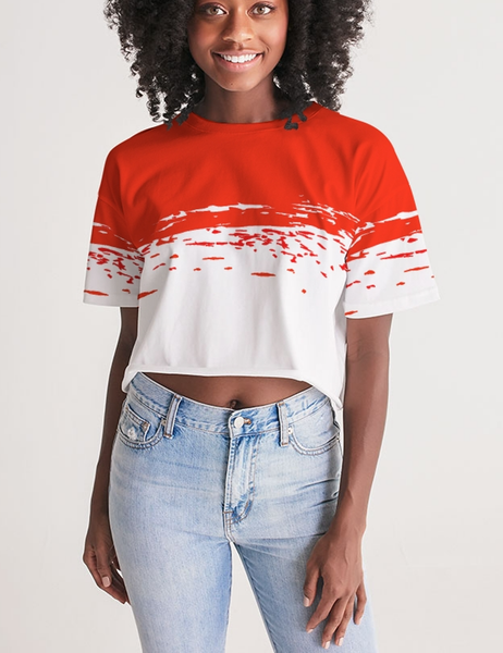 Red Paint Brush | Women's Oversized Crop Top T-Shirt