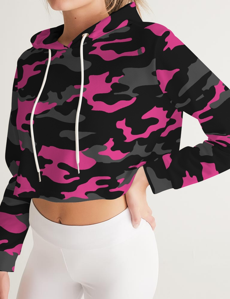 Dark Pink Camouflage | Women's Sublimated Cropped Hoodie