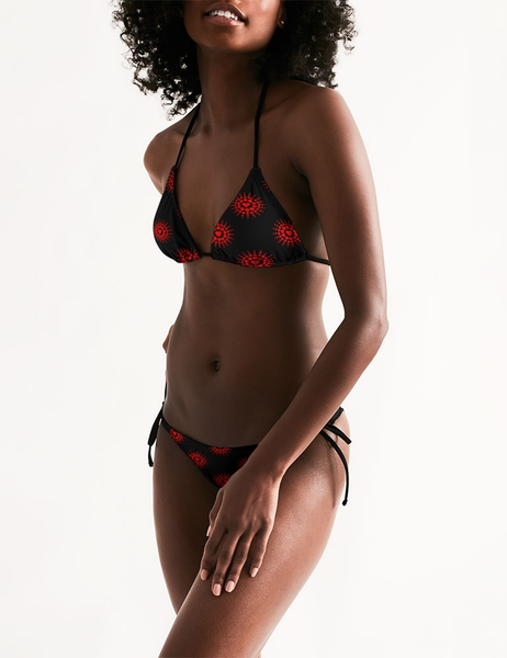 Crimson Crown Hearts | Women's Triangle String Bikini