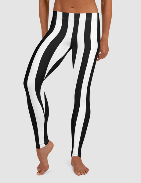 Striped Black White Panel | Women's Standard Yoga Leggings