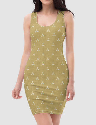 Vintage Faded Yellow Simple Floral Fabric Print | Women's Sleeveless Fitted Sublimated Dress