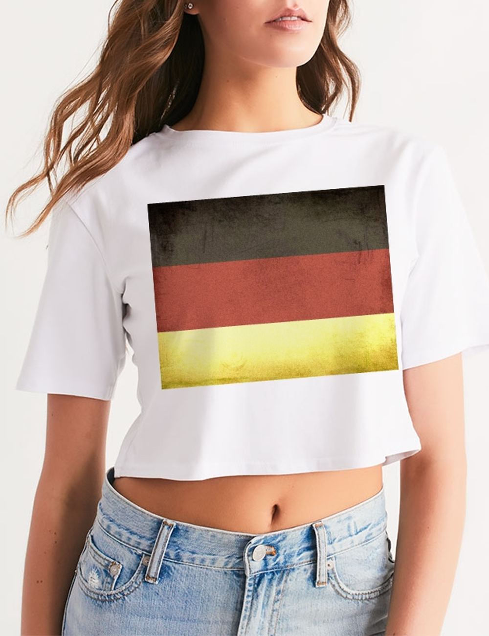 Vintage German Flag | Women's Relaxed Crop Top T-Shirt