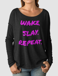 Wake Slay Repeat | Women's Flowy Long Sleeve Shirt