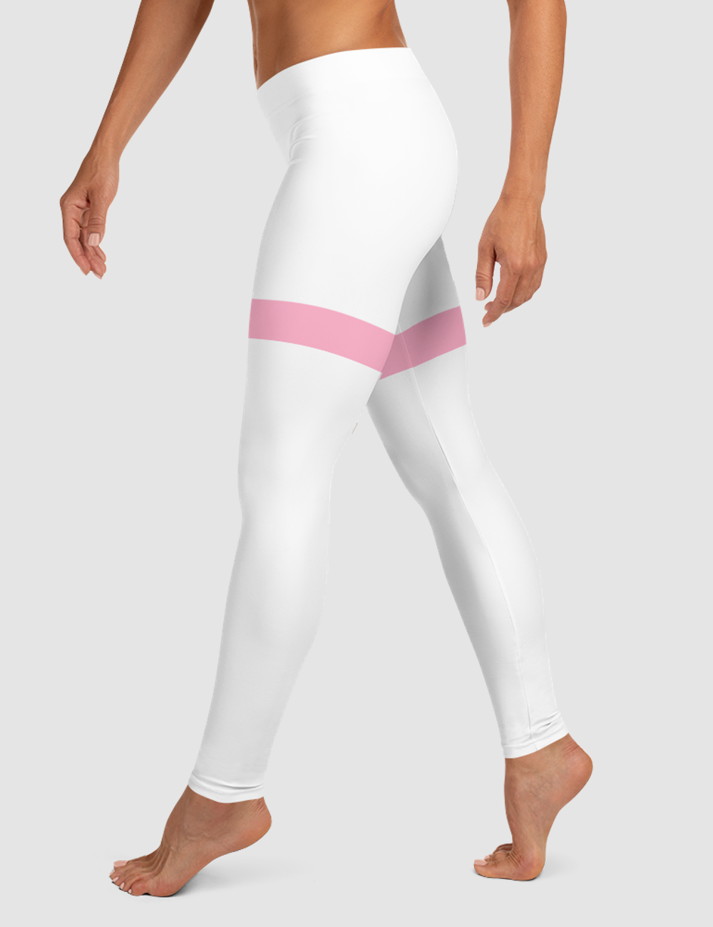 White And Pink Thigh Striped Print | Women's Standard Yoga Leggings