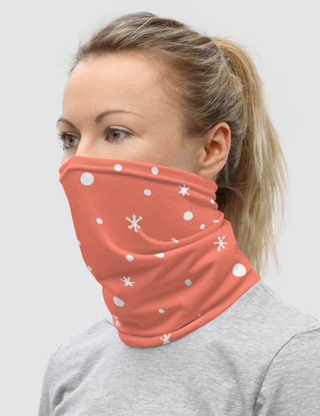 White Snow Pink Background | Neck Gaiter Face Mask