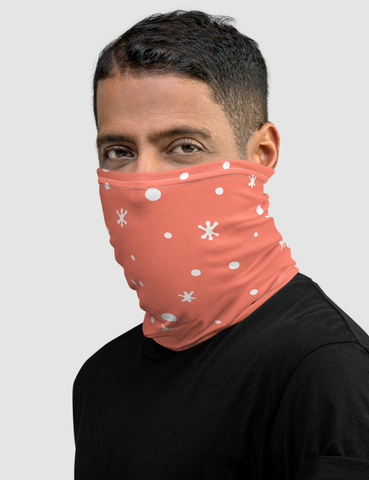 White Snow Pink Background Neck Gaiter Face Mask - OniTakai