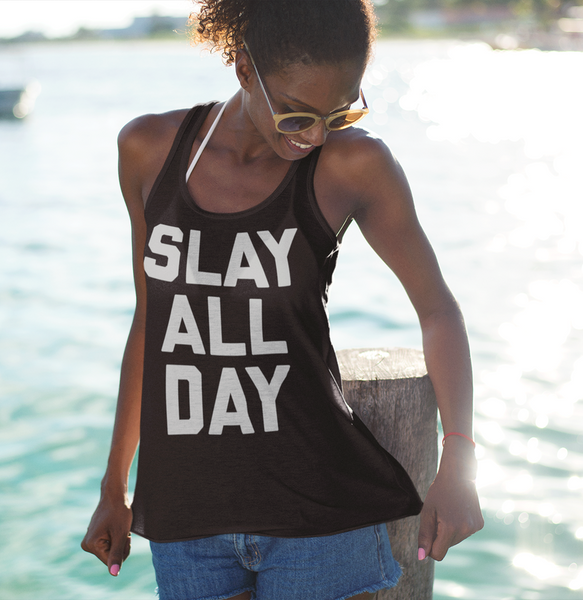Slay All Day Women's Cut Racerback Tank Top - OniTakai