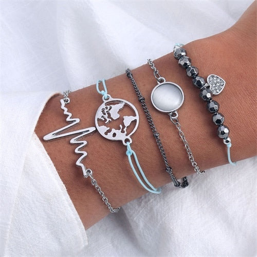 Women's Heart Beat Map Bohemian Bracelet Set