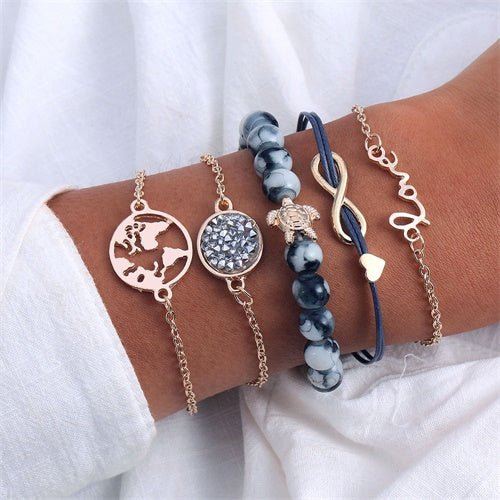 Women's Blue Gold Turtle World Bohemian Bracelet Set