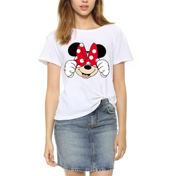 Women's Casual White Mickey T-Shirt