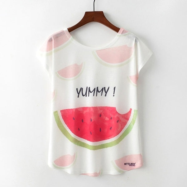 Women's Novelty Watermelon Print T-Shirt