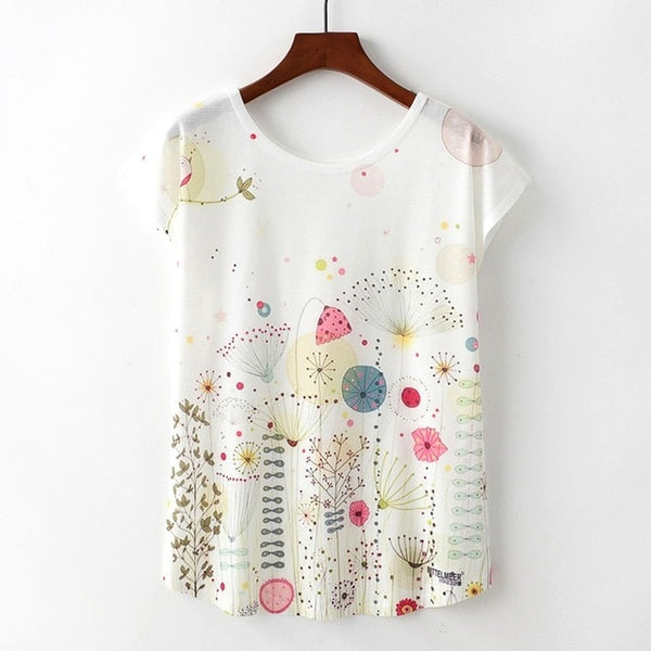 Women's Novelty Floral Sketch Print T-Shirt