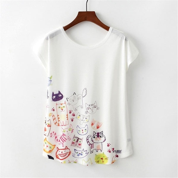 Women's Novelty Cat Sketch Print T-Shirt