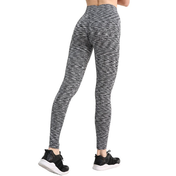 Women's Stripe Black Push Up Leggings
