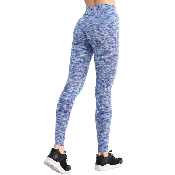 Women's Stripe Blue Push Up Leggings