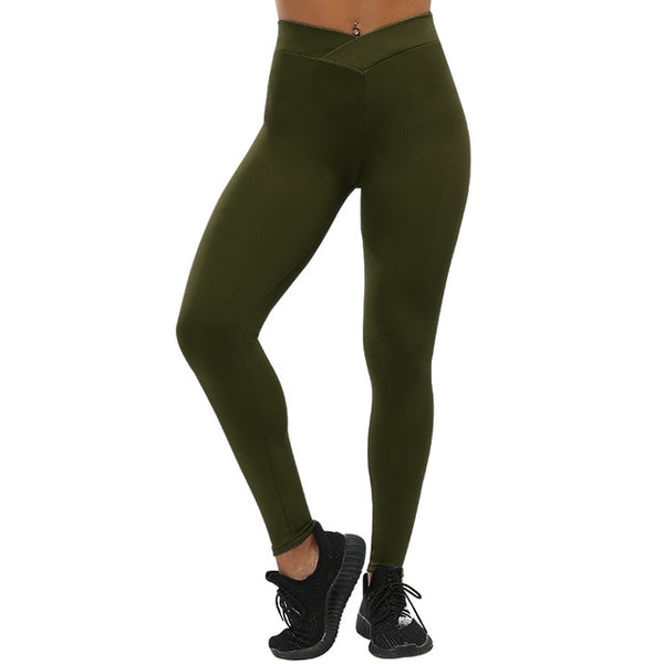 Women's Army Green Push Up Leggings