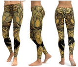 Women's Yellow Printed Yoga Fitness Legging