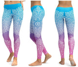 Women's Sky Blue Pink Printed Yoga Fitness Legging