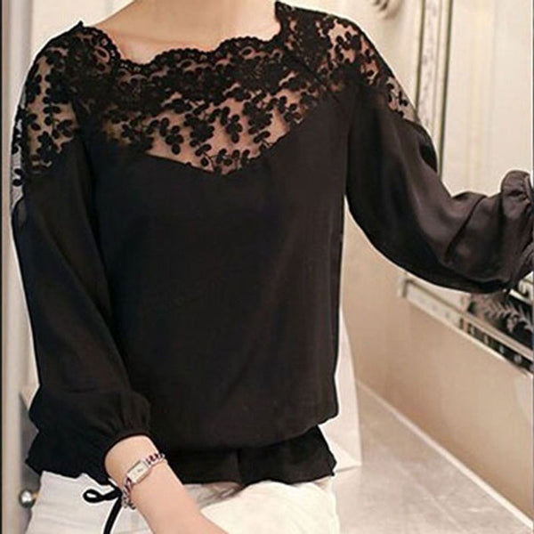 Women's Black Hollow Lace Casual Chiffon Blouse