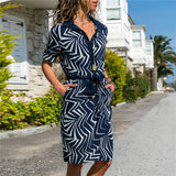 Women's Long Sleeve Casual Blue White Stripe Shirt Dress