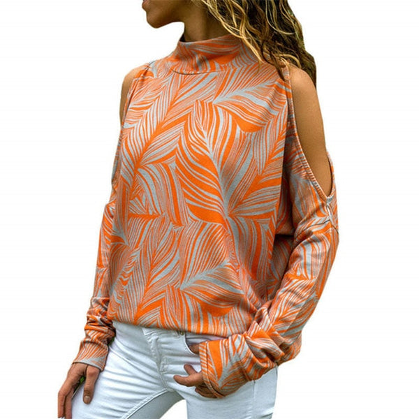 Women's Orange Cold Shoulder Casual Turtleneck Knitted Top