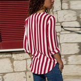 Women's Red Striped Long Sleeve V-Neck Blouse