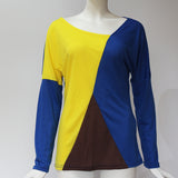Women's Yellow Blue Casual Patchwork Long Sleeve Blouse