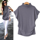 Women's Light Blue Casual Turtleneck Short Sleeve Blouse