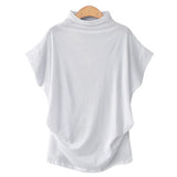 Women's White Casual Turtleneck Short Sleeve Blouse