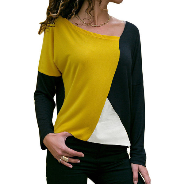 Women's Yellow Black Casual Patchwork Long Sleeve Blouse