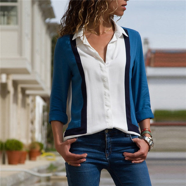 Women's White Dark Blue Long Sleeve Button Down Blouse