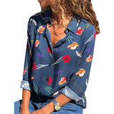 Women's Blue Floral Long Sleeve Button Down Blouse