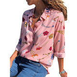 Women's Pink Floral Long Sleeve Collar Button Down Blouse