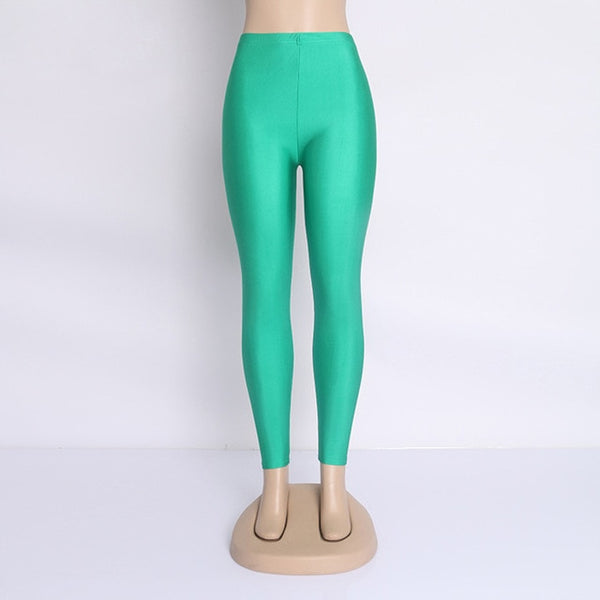 Women's Green Fluorescent Shiny Leggings