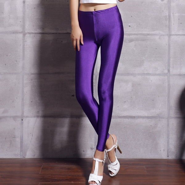 Women's Purple Fluorescent Shiny Leggings