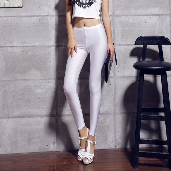 Women's White Fluorescent Shiny Leggings