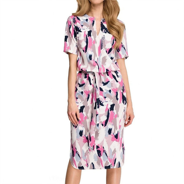 Women's Pink Summer Printed Boho Dress