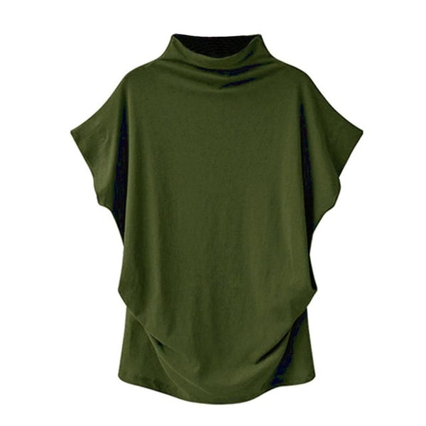 Women's Army Green Casual Turtleneck Short Sleeve Blouse